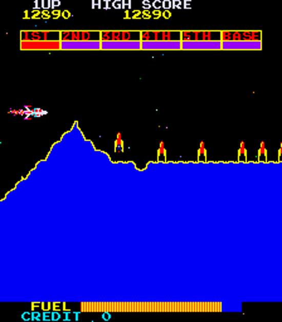 Scrambler : Capture d'écran du jeu d'arcade Scramble