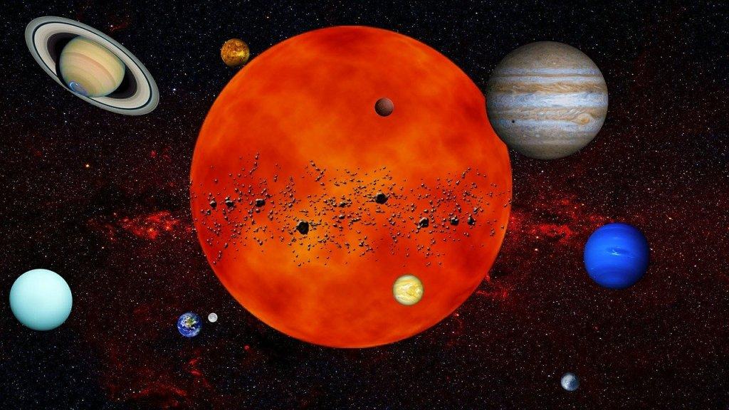 Système Solaire : le soleil et les planètes qui gravitent autour