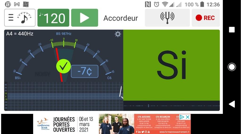 Capture d'écran de l'application . accordeur Soundcorset pour smartphone. Une appli simple pour les débutants, et avec en bonus un enregistreur.