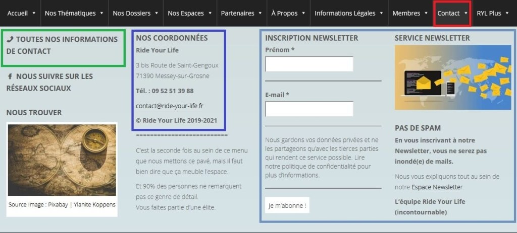 Plan du site Ride Your Life