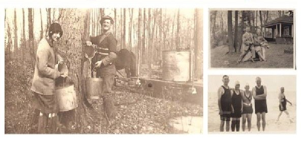 Historical photographs of local residents of Rideau Lakes: tapping maple trees, swimming, etc.