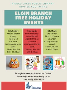 Information poster for free holiday events for kids at the Elgin Branch.