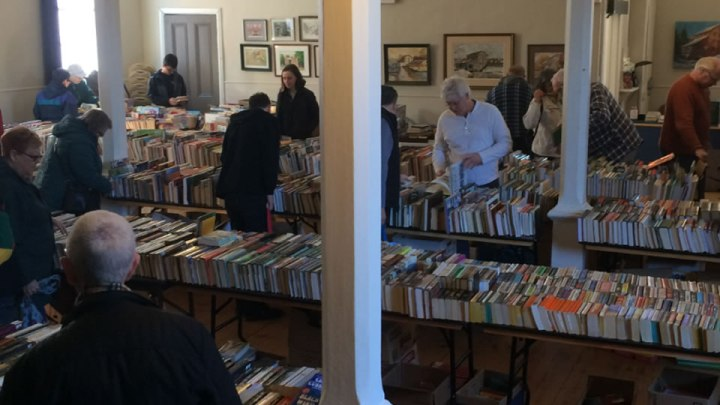 A book sale held by the library