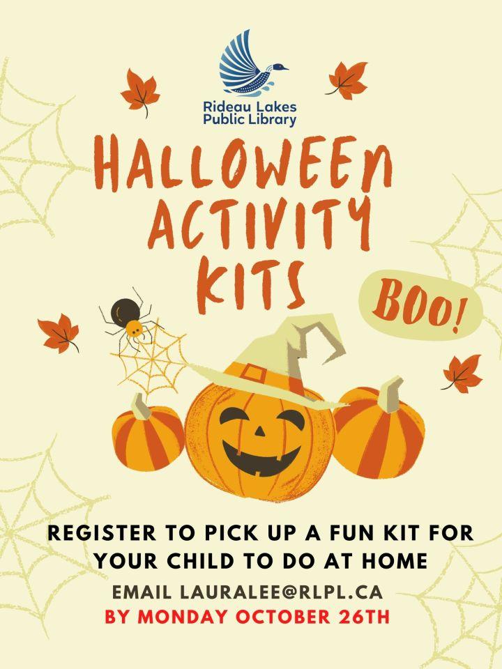 Halloween Activity Kits for kids. Contact lauralee@rlpl.ca