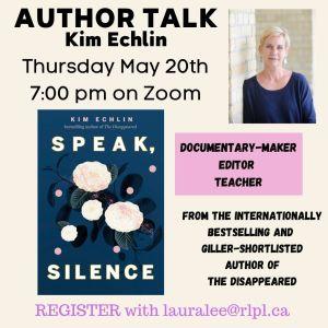 Author Talk with Kim Echlin contact lauralee@rlpl.ca