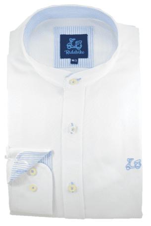 Camisa de Oxford blanco cuello mao