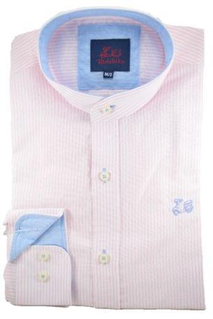 Camisa rayas rosa cuello mao