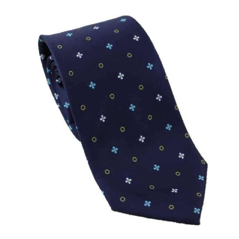 Corbata azul marino estampado floral