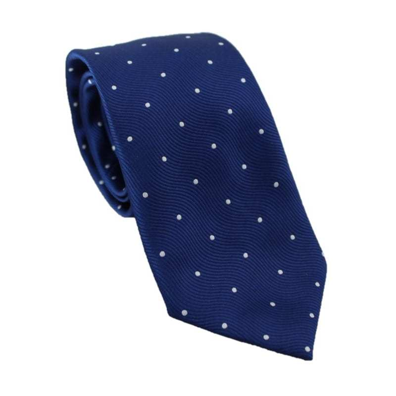 Corbata azul estampado lunares