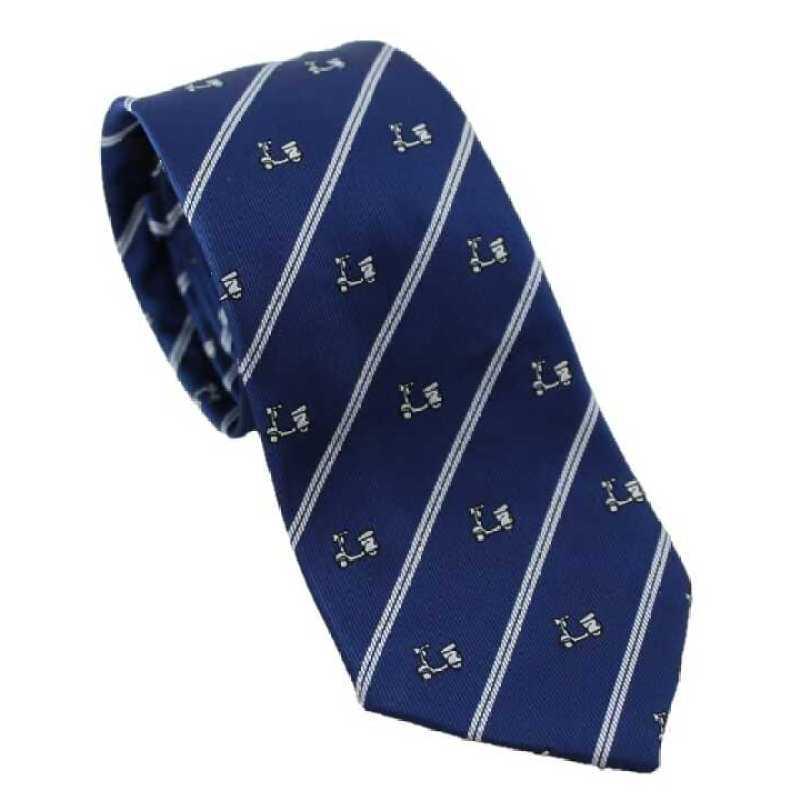 Corbata azul estampado vespa con rayas