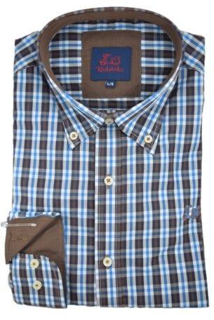 Camisa de cuadros azul y café