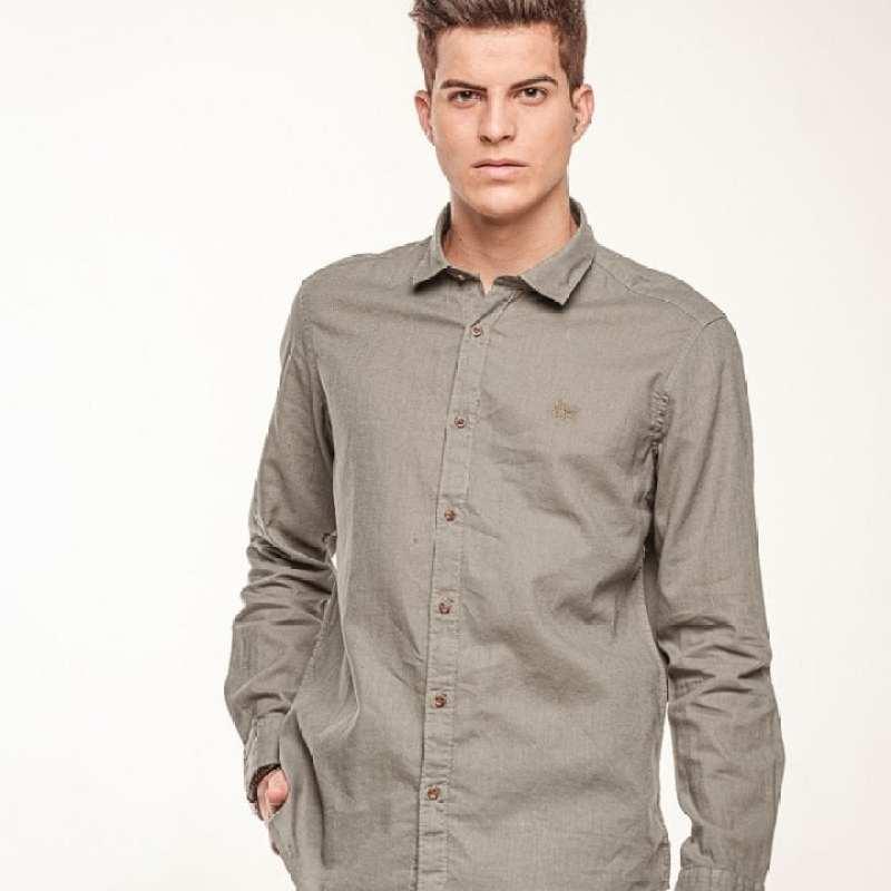Camisa de lino básica cuello italiano