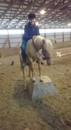 Jack and me on pedestal riding