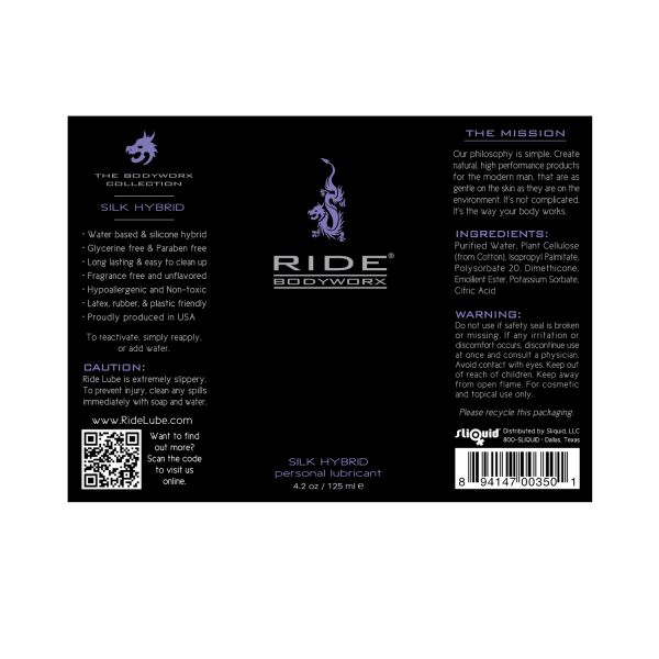 Ride BodyWorx Silk Hybrid 4.2oz - Label Graphic