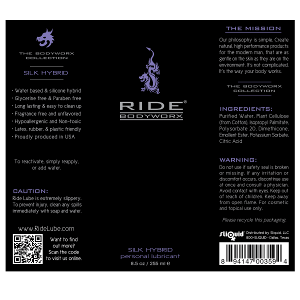 Ride BodyWorx Silk Hybrid 8.5oz - Label Graphic