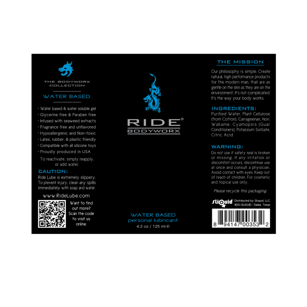 Ride BodyWorx Water Based 4.2oz - Label Graphic
