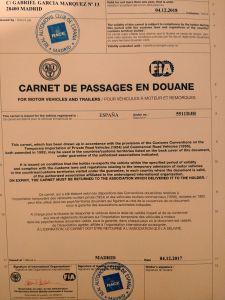 Carnet de passages en Douane