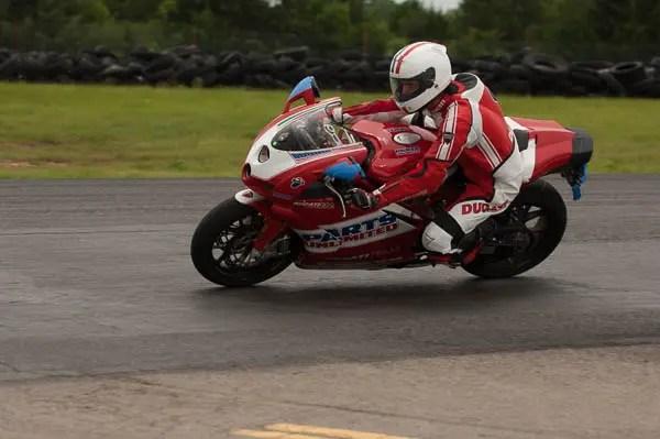 A Ducati laps at Hallett.