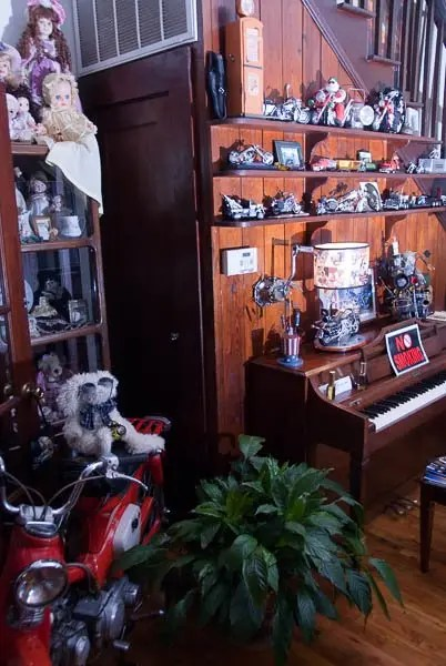 The front entryway of Kickstart B&B is decorated with motorcycle memorabilia.