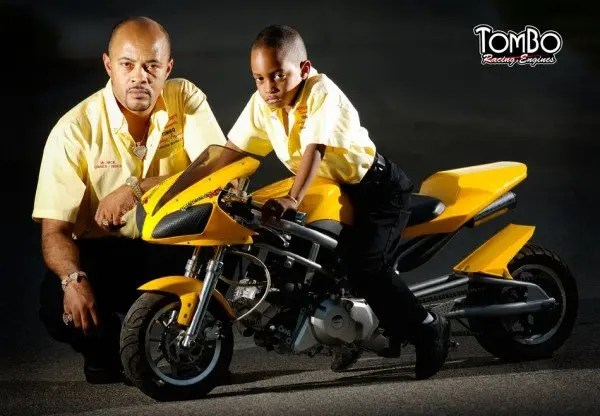 """Tombo Racing sponsored rider Glen Nickleberry and his son """"Little Nick""""."""
