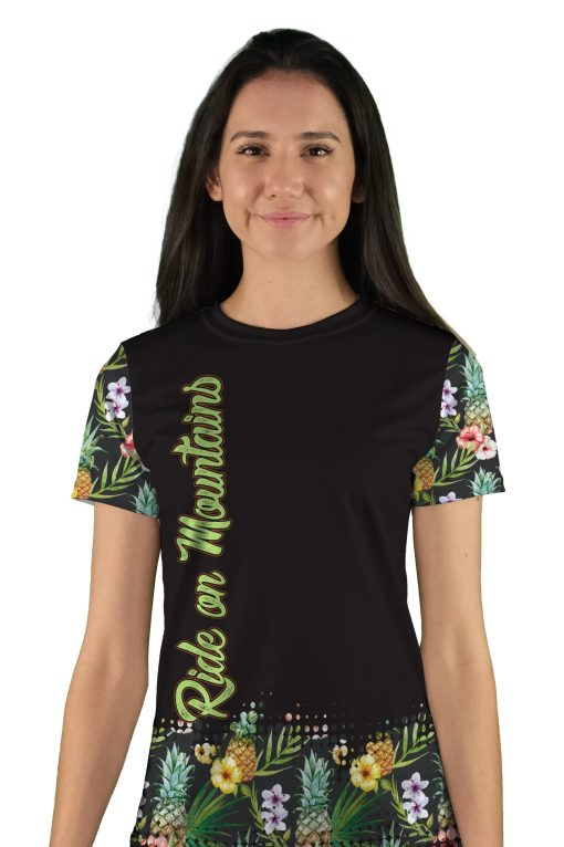 womens short sleeve pineapple express mountain bike jersey