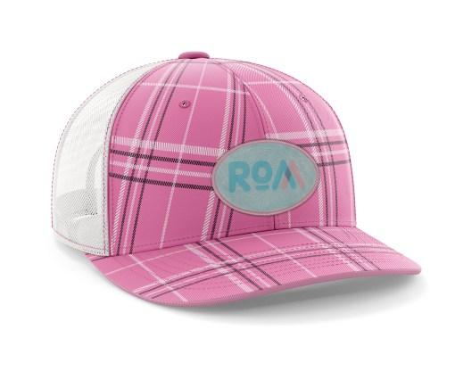Pink Plaid Topo Map Hat