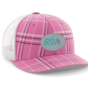 Pink Plaid Topo Map Hat