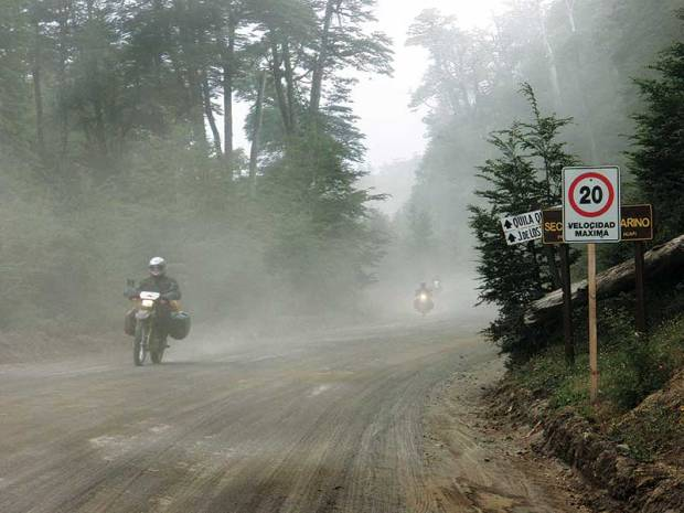 Tierra del Fuego, riding in dust