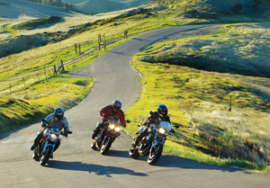 2011 Ducati Monster 796, Triumph Street Triple R, BMW F 800 R action