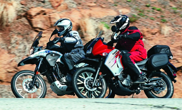 In the canyons, the Sertão has sharper steering, the KLR more stability.