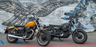 """Moto Guzzi's new-for-2017 V9 Roamer (left) and V9 Bobber (right) are the first models powered by an 853cc version of the venerable """"flying V"""" longitudinal, 90-degree V-twin. (Photography by the author & Milagro)"""