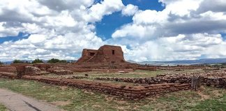 Ruins located at the Pecos National Historical Park just south of Santa Fe date back to the 15th century. Once a major pueblo village with more than 1,100 rooms and the remains of two Spanish missions.