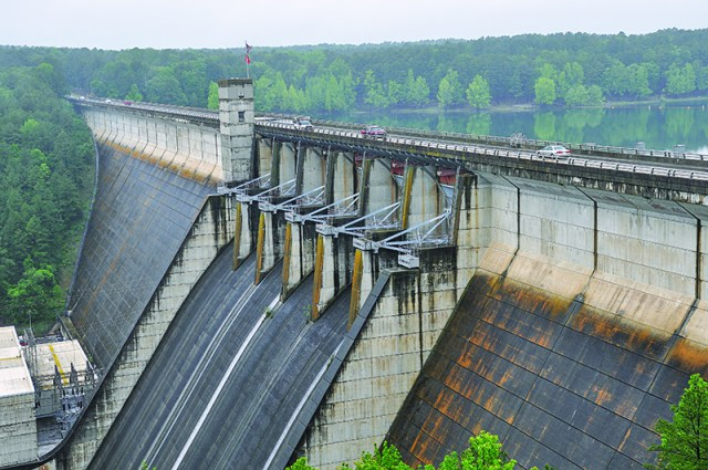 Greers Ferry Dam, an Army Corps of Engineers flood control project that transformed the region. State Route 25 crosses the impressive structure, which was dedicated by John F. Kennedy in 1963.