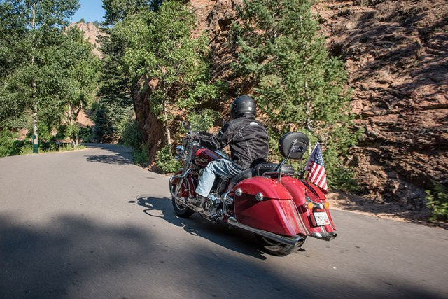 A Sisters rider winds through Utah on an Indian Springfield. (Photo: Sara Liberte/Indian Motorcycles)