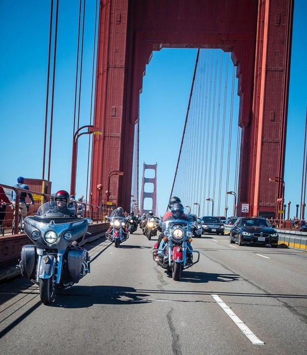 Riders cross the Golden Gate Bridge into San Francisco. (Photo: Sara Liberte/Indian Motorcycle)