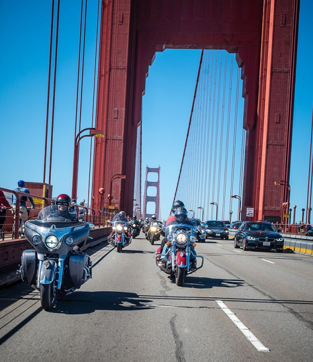 Riders cross the Golden Gate Bridge into San Francisco. (Photo: Sara Liberte/Indian Motorcycle)