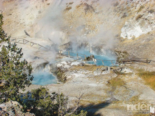 Steaming water pools at the Hot Creek Geological Site, near Mammoth Airport, display the volcanic nature of this area.