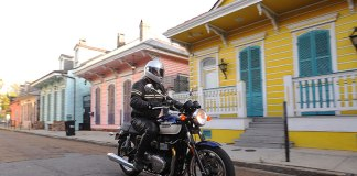 In 2009, riding the updated Triumph Bonneville through New Orleans' colorful French Quarter. (Photo by Tom Riles)