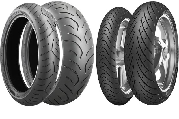 Sport-touring tires aim to deliver great mileage and handling performance for today's high-tech sport-touring machines. The Metzeler RoadTec 01 has a tread pattern that improves grip on wet or dry surfaces, with a dual compound that offers cornering confidence and long life. The Shinko 016 Verge features an Aramid front tire for high-speed stability and strength, and a supersport-derived rear for performance. The Bridgestone Battlax T30 EVO uses new compounds to improve traction and control, especially on wet surfaces.