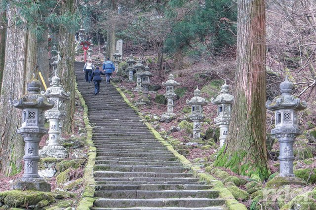 Steps leading up to the Takasumi shrine are lined with toro (lanterns). At the top we prayed for our heart rates to come back down.