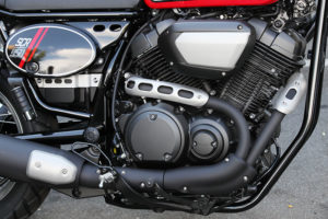 Powering the SCR950 is the air-cooled, 60-degree, 942cc V-twin from the Bolt cruiser.