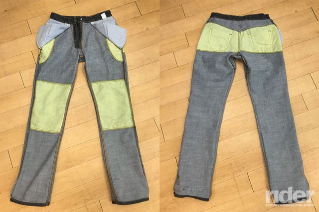 The Diamond Gusset Defender Women's Riding Jeans. Notice the small Kevlar patches on the butt and hips.