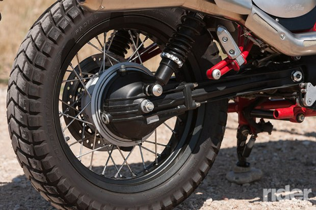 Wire-spoke wheels with semi-knobby rubber and a low-maintenance shaft drive give the Stornello dirt-worthy chops.