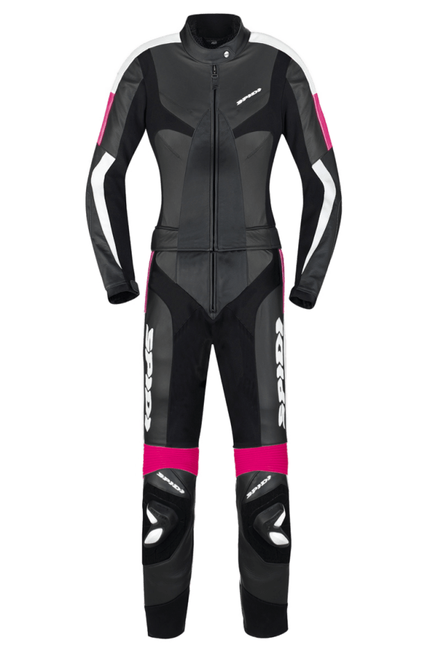 I chose to go with a two-piece leather suit by Spidi. Since I'm not planning on going to the track more than once or twice a year, this lets me wear the jacket alone when I'm on the street, and if I want the added protection of the pants, I can always zip those on as well!