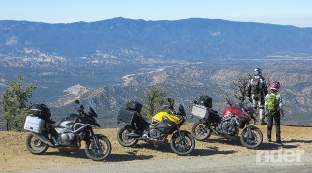 We strapped on tail bags to carry some of our camping gear. From left: Chase Harper duffel on the Honda, Nelson-Rigg tail bag on the Yamaha and Wolfman duffel on the Triumph.