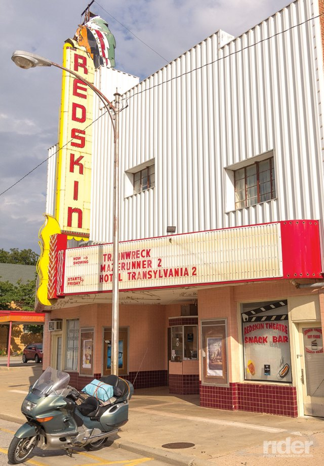 "Marquee at the local theater in Anadarko, Oklahoma, ""Indian Capital of the Nation,"" sends a message the politically correct might note."