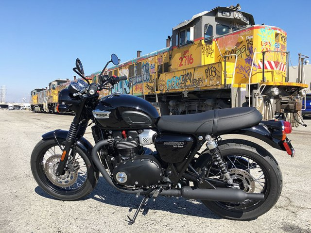 With its blacked-out styling, Triumph says the T100 Black will appeal more to urban riders. It fit right in with L.A.'s gritty scenery.