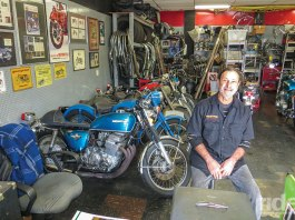 Kurt Winter's shop in Chatsworth, California, is a compact space packed with a lifetime's worth of motorcycle parts and memorabilia, primarily from older Hondas and British bikes. (Photos by the author)