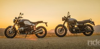 Neo-retro vs. modern classic—the BMW R nineT and Triumph Bonneville T120 Black are two different approaches to creating a simply beautiful, traditional motorcycle. While the BMW puts an emphasis on sport and custom components, the Triumph is a modern exemplification of the bike that ruled the 1960s. (Photos: Kevin Wing)