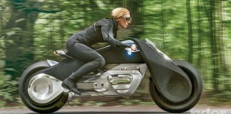 Unlike a concept bike that might see production in a few years, BMW's Vision machine is a sci-fi look 30-40 years into a possible future, when the dangers of riding and the need for a helmet and protective gear have been eliminated.